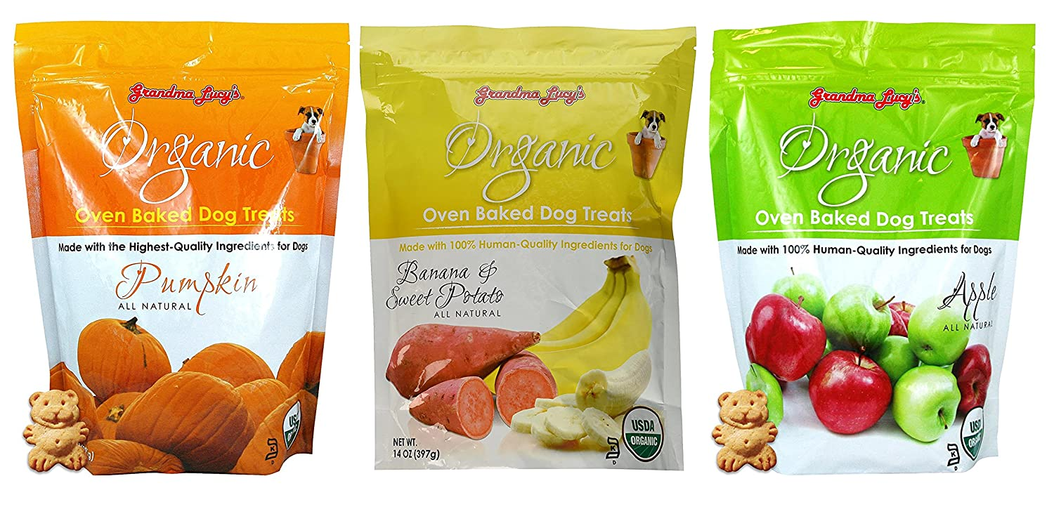 Grandma Lucy s Oven Baked Dog Treat Variety Pack 1-Pumpkin, 1-Banana and Sweet Potato, 1-Apple
