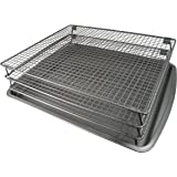 Weston Nonstick 3-Tier Drying Rack and Baking Pan, 700 Square inches Space, Silver