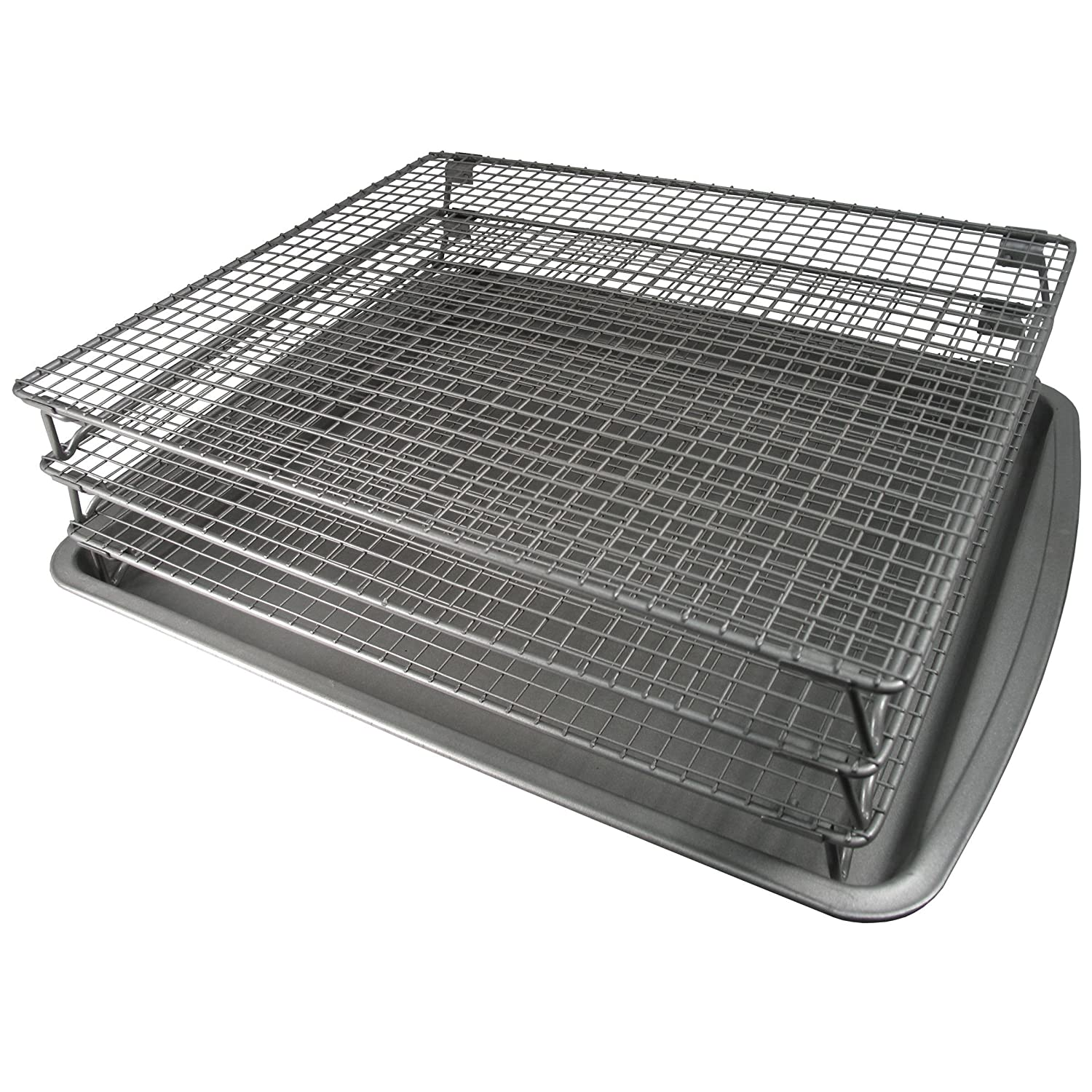 Weston Nonstick 3-Tier Drying Rack and Baking Pan (07-0155-W), 700 Square Inches of Drying Space