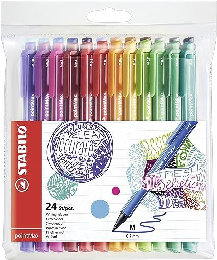 Rotulador punta media 0,8 STABILO pointMax - Estuche con 24 colores: Amazon.es: Oficina y papelería