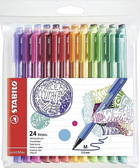 Filzschreiber STABILO pointMax 24er Pack Filzstifte Fasermaler Pen Set Farben