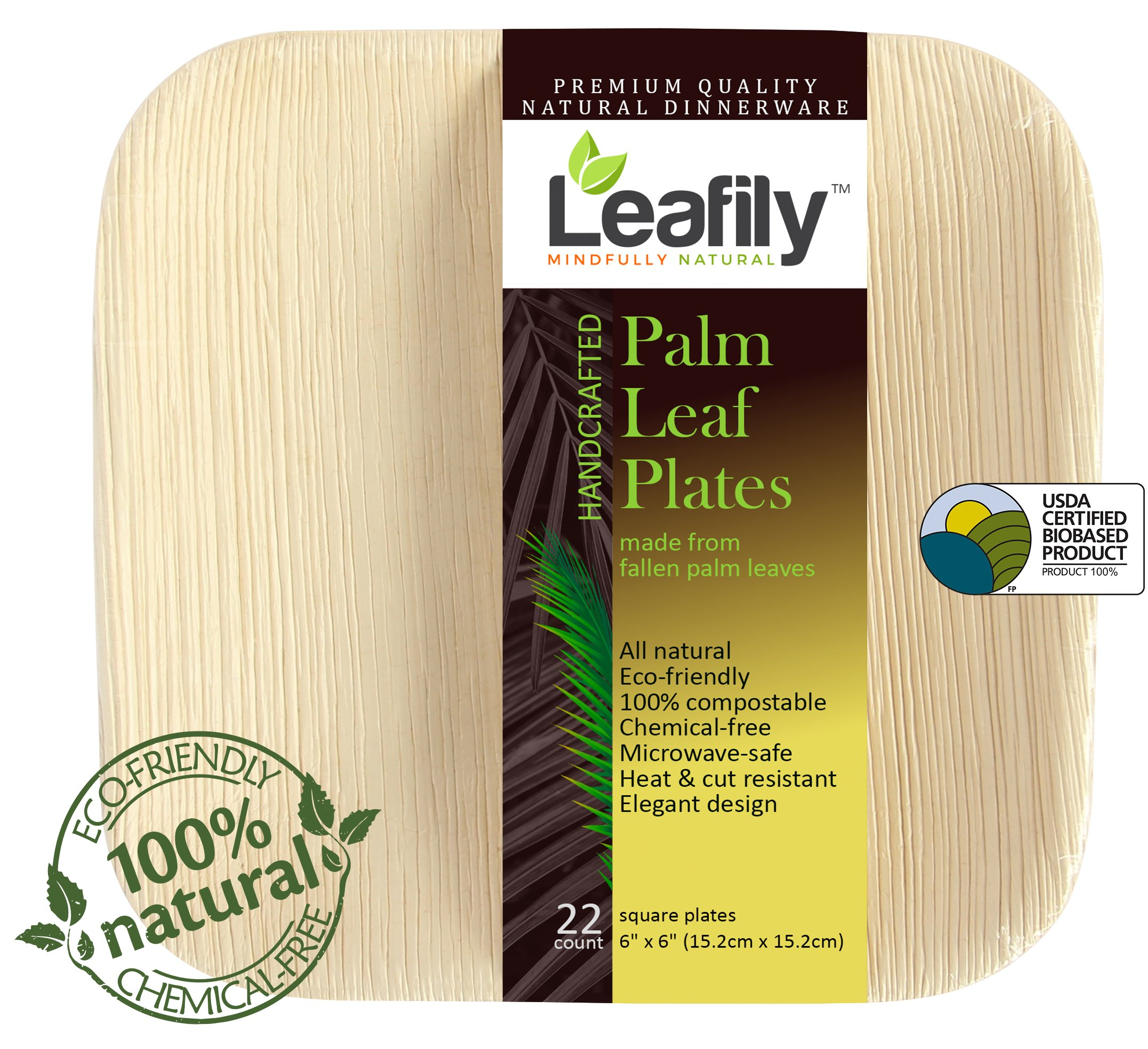 Leafily Palm Leaf Plates - 6 inch Square - Heavy Duty - Elegant - 100% Compostable - Better than Bamboo or Wood - Disposable - Biodegradable - Premium Party Plates - USDA Certified - 22 Count by Leafily (Image #8)