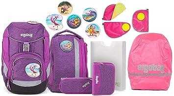 0028f2e8fdc85 Ergobag Pack Insel HoppBär Schulrucksack-Set 6tlg. + Sicherheitsset +  Regencape Pink