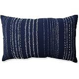 Pillow Perfect Tribal Stitches Rectangular Throw Pillow, Navy/White