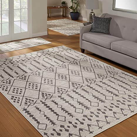 Gertmenian 81740 Mythical 3-Piece Carpet Artemis Contemporary Rugs, 2x6 5x7 8x11, Ivory Moroccan Bounty