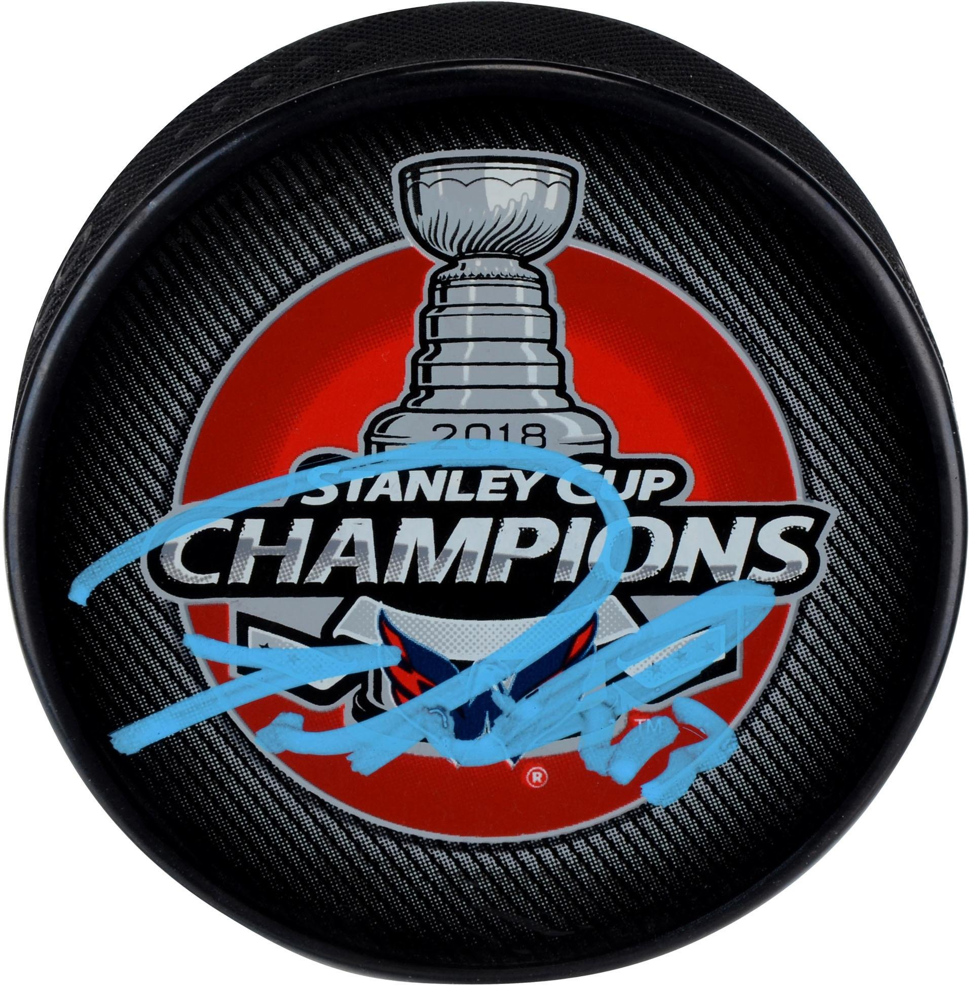Tom Wilson Washington Capitals 2018 Stanley Cup Champions Autographed Stanley Cup Champions Logo Hockey Puck Fanatics Authentic Certified