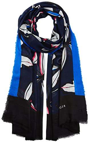 Tommy Hilfiger SPW Leaves Print, Bufanda para Mujer, Multicolor (Tommy Navy Mix), Talla única (Talla...
