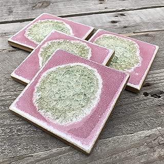 product image for Geode Crackle Coaster Set of 4 in Amethyst, Geode Coaster, Crackle Coaster, Fused Glass Coaster, Crackle Glass Coaster, Agate Coaster, Ceramic Coaster, Dock 6 Pottery Coaster