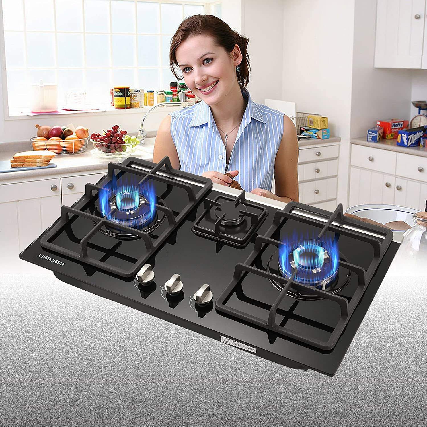 WINDMAX 30 Built-in 3 Burners Gas Hob Cooktop Tempered Glass NG/LPG Gas COOKTOPS