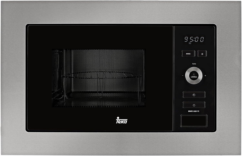 Teka Integración | Modelo MWE 225 FI | Microondas con Grill |Capacidad de 20 litros | 5 Niveles de Potencia | 800 W | Color: Acero Inoxidable y Cristal, 1250, Gris y negro