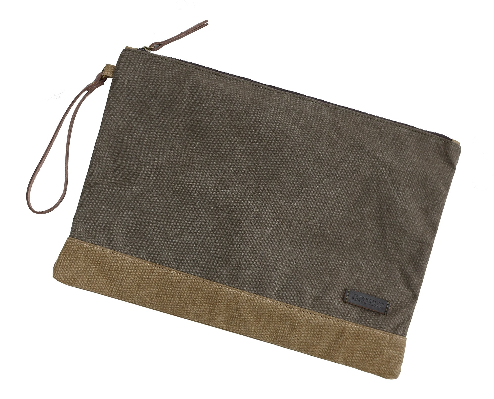 Gootium Waxed Canvas Multipurpose File Bag for Artists and Office, 13''x9.4'', A4 Size, Water Proof, Green