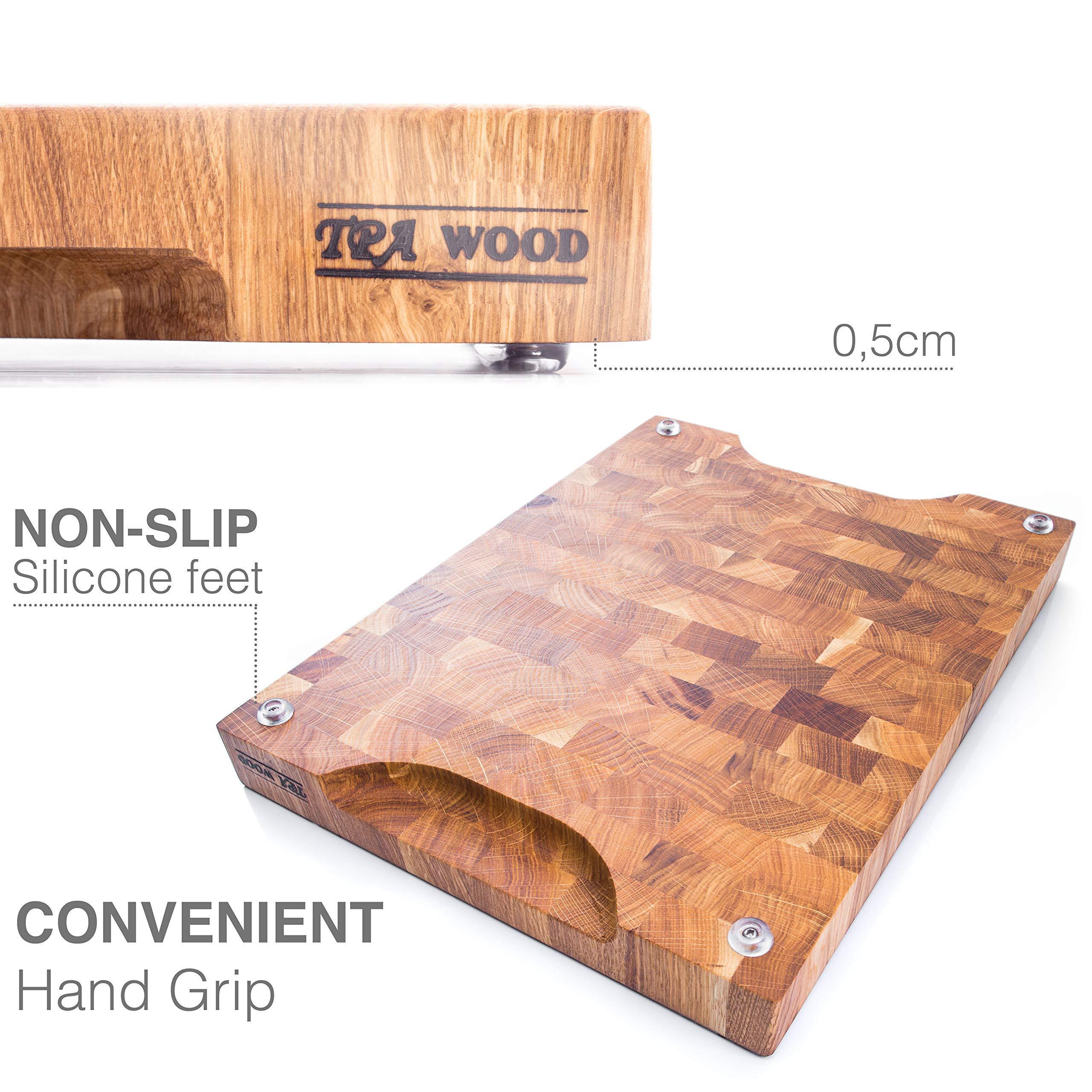 End Grain Wood cutting board - Wood Chopping block - Large cutting board 16 x 12 Kitchen butcher block Oak cutting board non slip cutting board with feet - Kitchen Wooden chopping board by TPA Wood (Image #1)