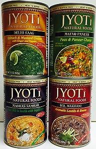 Jyoti Natural Foods 15 Oz Vegetarian Indian Food Variety 4 Recipes – Dal Makhani, Matar-Paneer, Delhi Saag, and Madras Sambar