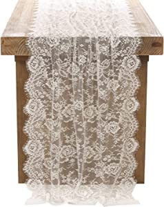 """Crisky 30"""" x 120"""" Lace Table Runners for Weddings Lace Overlay, Spring Summer Vintage Garden Tea Party Decor, Bridal Shower Decoration"""