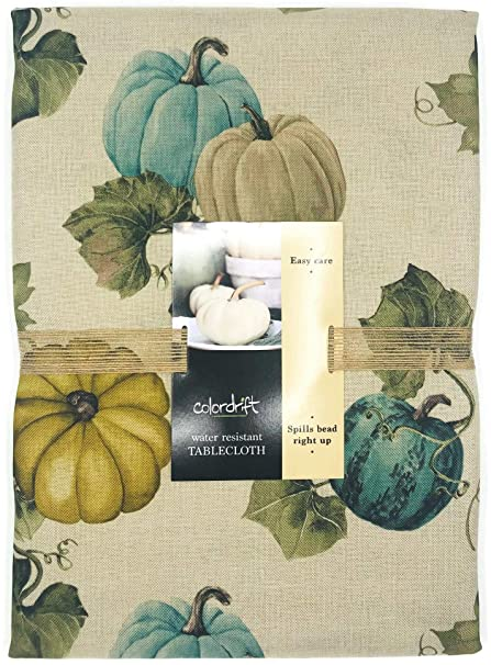 "Colordrift Fall Thanksgiving Tablecloth Pumpkins & Vines in Neutral Shades of Teal Beige Green, Easy Care Water Resistant Polyester Fabric, Perfect for Fall Decor & Thanksigving Dinner (60"" X 84"") best Thanksgiving tablecloths"