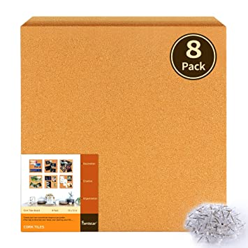 Amazoncom Famistar 12 X 12 Square Cork Board Tiles 8 Pack With