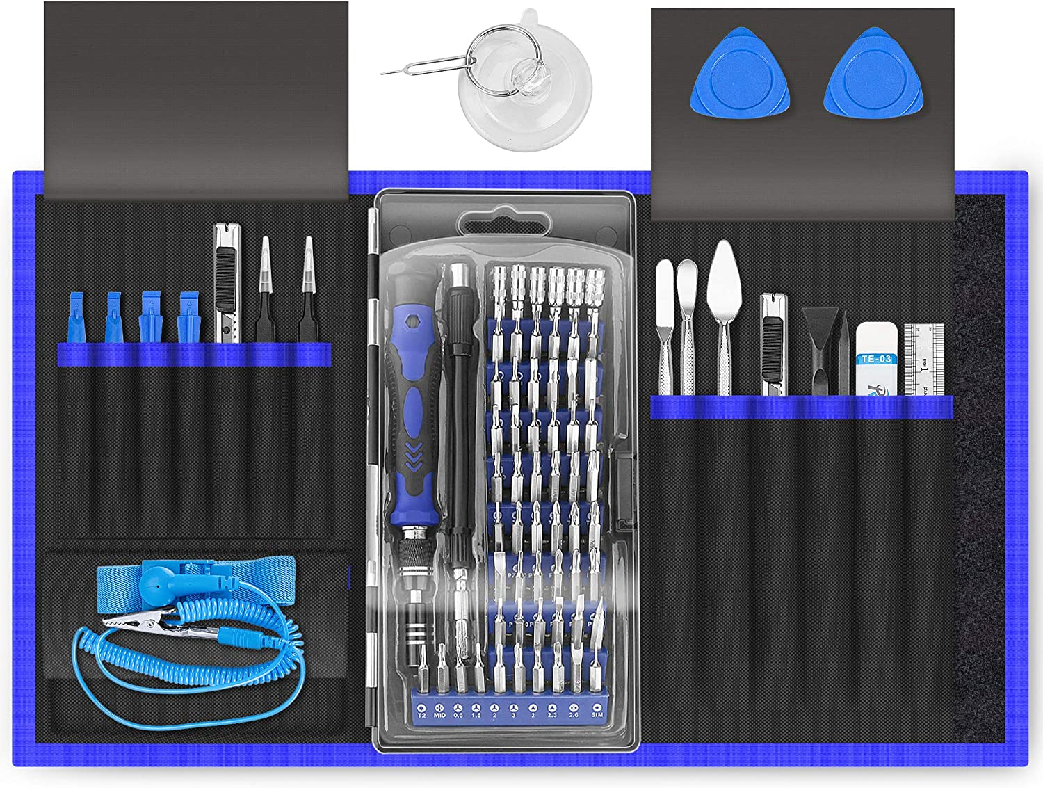 XOOL 80 in 1 Precision Set with Magnetic Driver Kit, Professional Electronics Repair Tool Kit with Portable Oxford Bag for Repair Cell Phone, iPhone, iPad, Watch, Tablet, PC, MacBook: Home Improvement