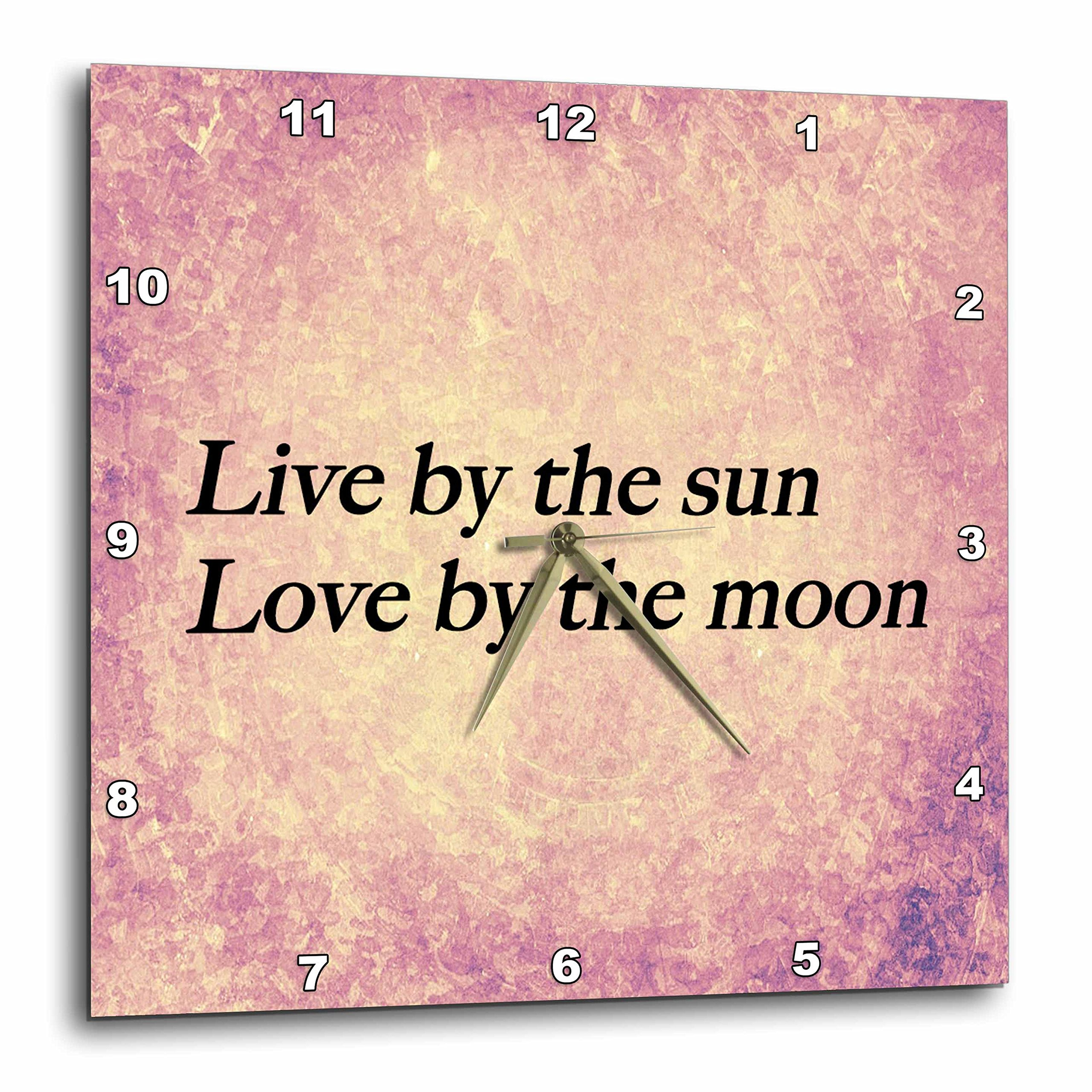3dRose dpp_173274_1 Live by The Sun, Love by The Moon Expression, Pink, Purple Warm Background Wall Clock, 10 by 10''