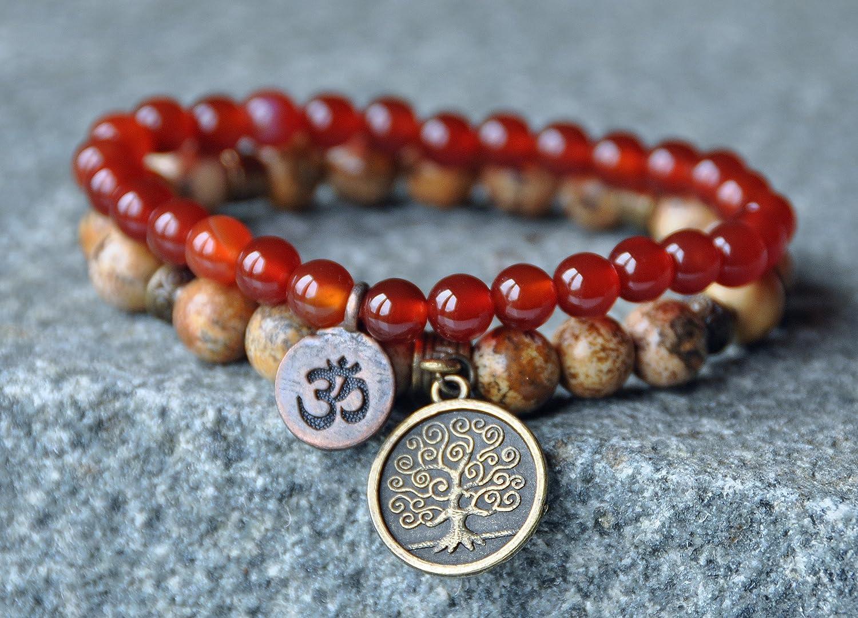 Carnelian Bracelet,Picture Jasper Mala Wrap,Yoga OM Bracelet,Tree of Life Stackable bracelet,Mantra Confidence and Stability Reiki healing