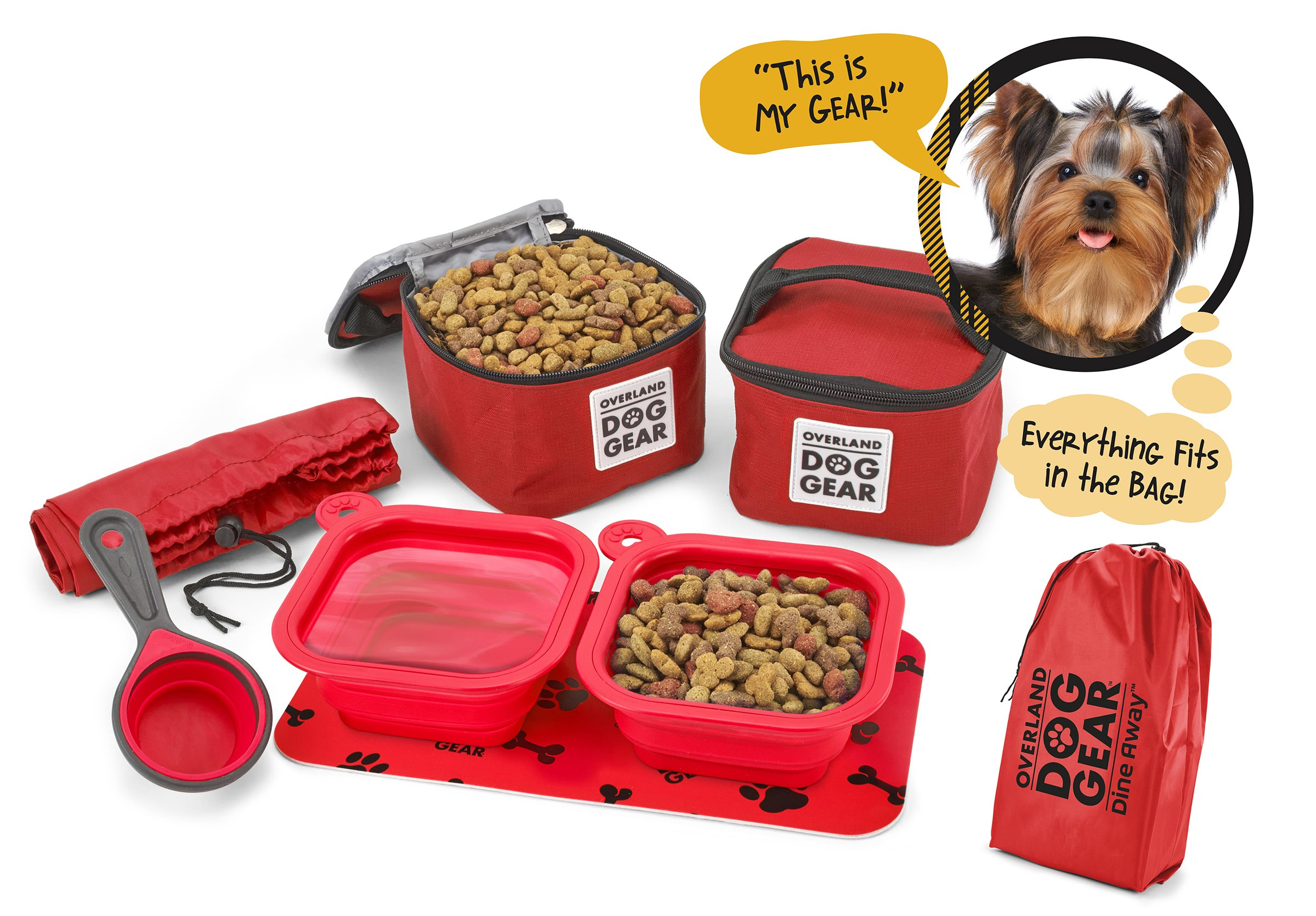 Dog Travel Food Set For Small Dogs (Red) - 7pk Including Collapsible Bowls, Carriers, Scooper, Place Mat, Bag