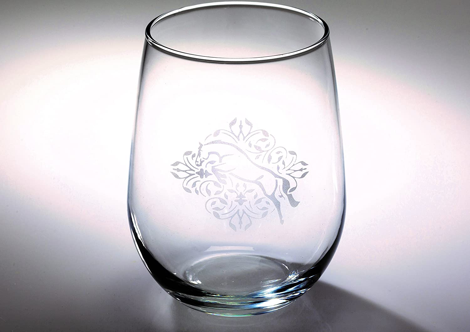 Kelley /& Company Jumper Floral Etched Stemless Wine Glass