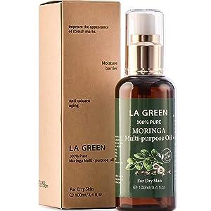 LA GREEN Face Oil Organic Moringa Oil Pure Multi purpose Skin Oil - for Face, Body, Hair - Food Grade, Oral Consumption - USDA Certified, Non GMO, Cold Pressed, Unrefined. bottle with Pump.(3.4 fl oz)