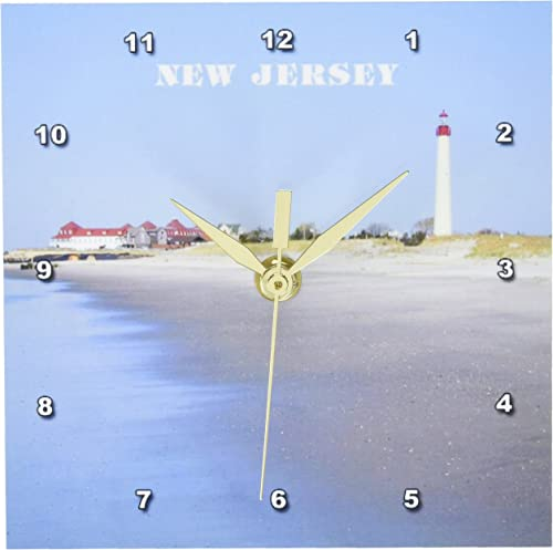 3dRose dc_80580_1 Cape May New Jersey with Lighthouse N Beach Desk Clock, 6 by 6-Inch