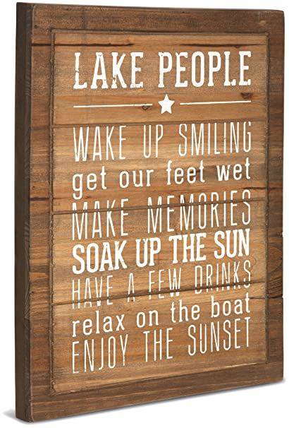 Pavilion Gift Company 67217 We People Lake People Rules Sign, 12 x 15