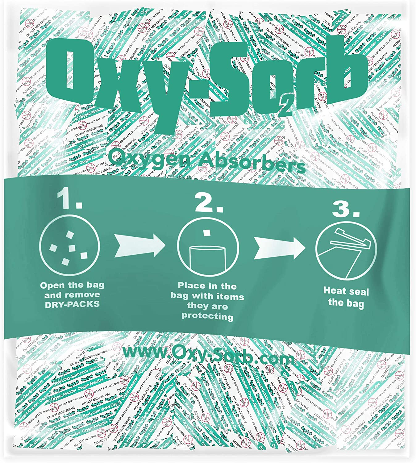 Oxy-Sorb 500cc Oxygen Absorber Packets, 50 Pack-Long Term Food Storage Freshness Protection, Clear