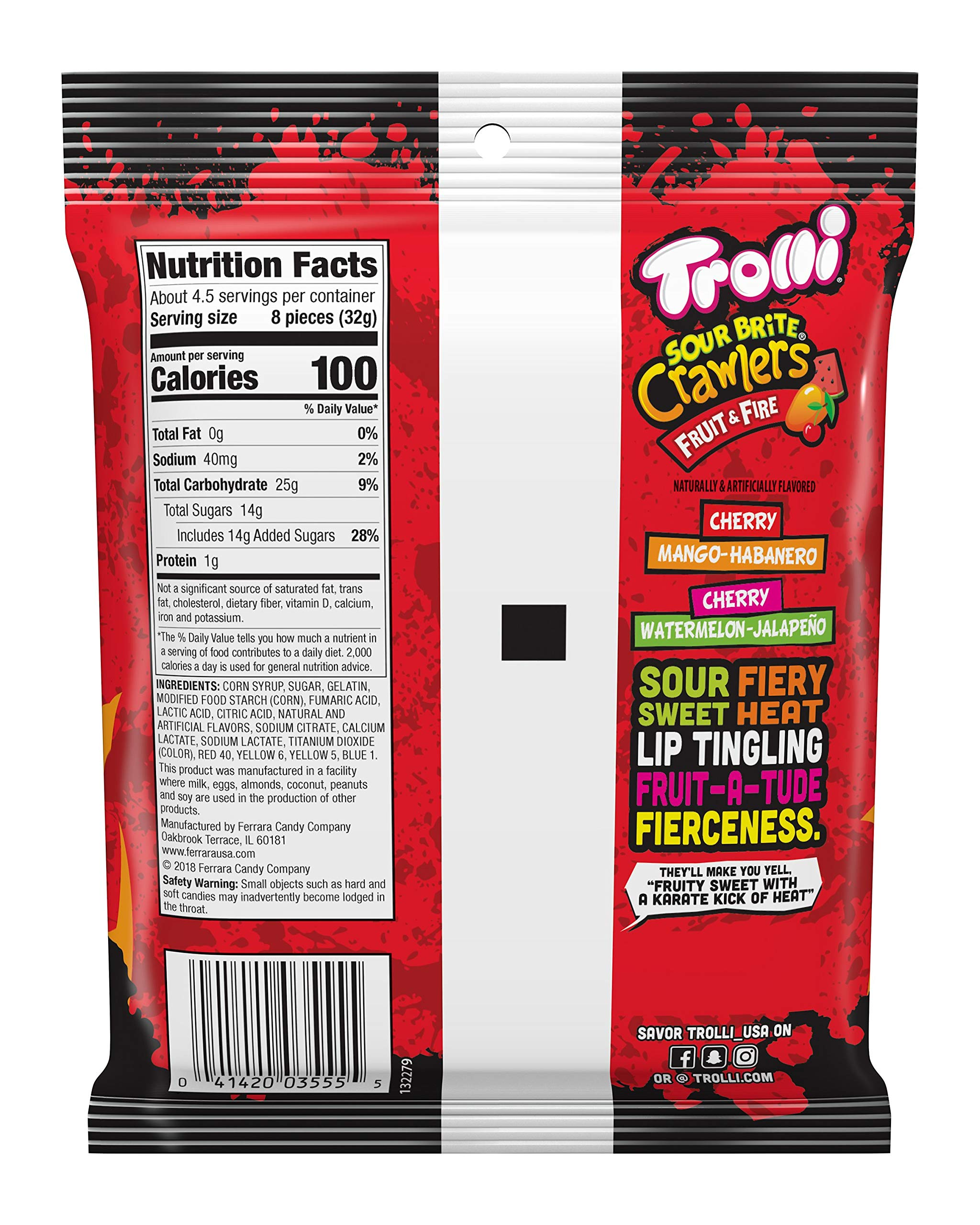 Trolli Sour Brite Crawlers Gummy Worms Fruit & Fire, 5 Ounce Peg Bag (Pack of 12) Sweet, Sour & Spicy Gummy Worms by Trolli (Image #4)