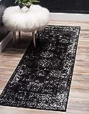 Unique Loom 3141462 Area Rug, 2' x 10' Runner, Black