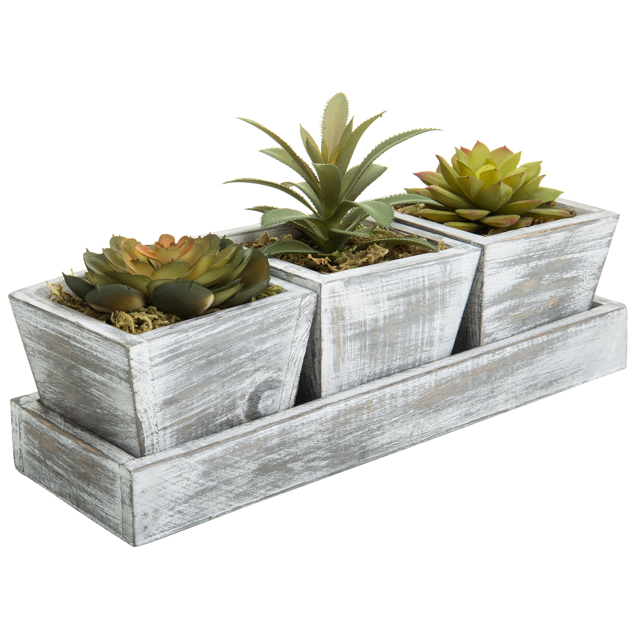 MyGift Set of 3 Artificial Plants in Rustic Wood Planter Boxes with 11-Inch Display Tray