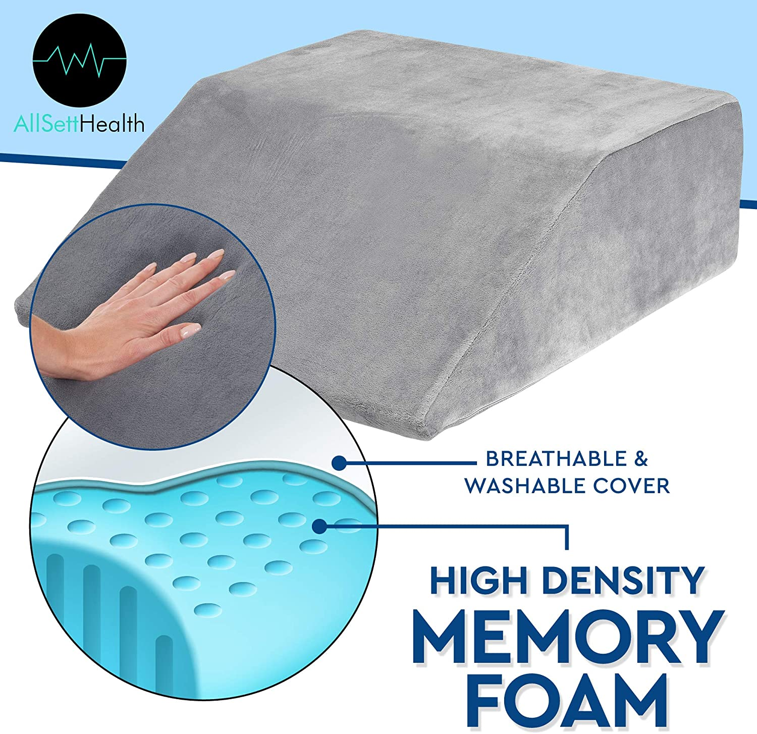 Leg Elevation Pillow - with Full Memory Foam Top, High-Density Leg Rest Elevating Foam Wedge- Relieves and Recovers Foot and Ankle Injury, Leg Pain, Hip and Knee Pain, Improves Blood Circulation, Grey: Health & Personal Care
