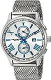 Akribos XXIV Men's Swiss Quartz Multi-function Blue Accented Sunray Dial Silver-tone Mesh Stainless Steel Bracelet Watch AK905SS