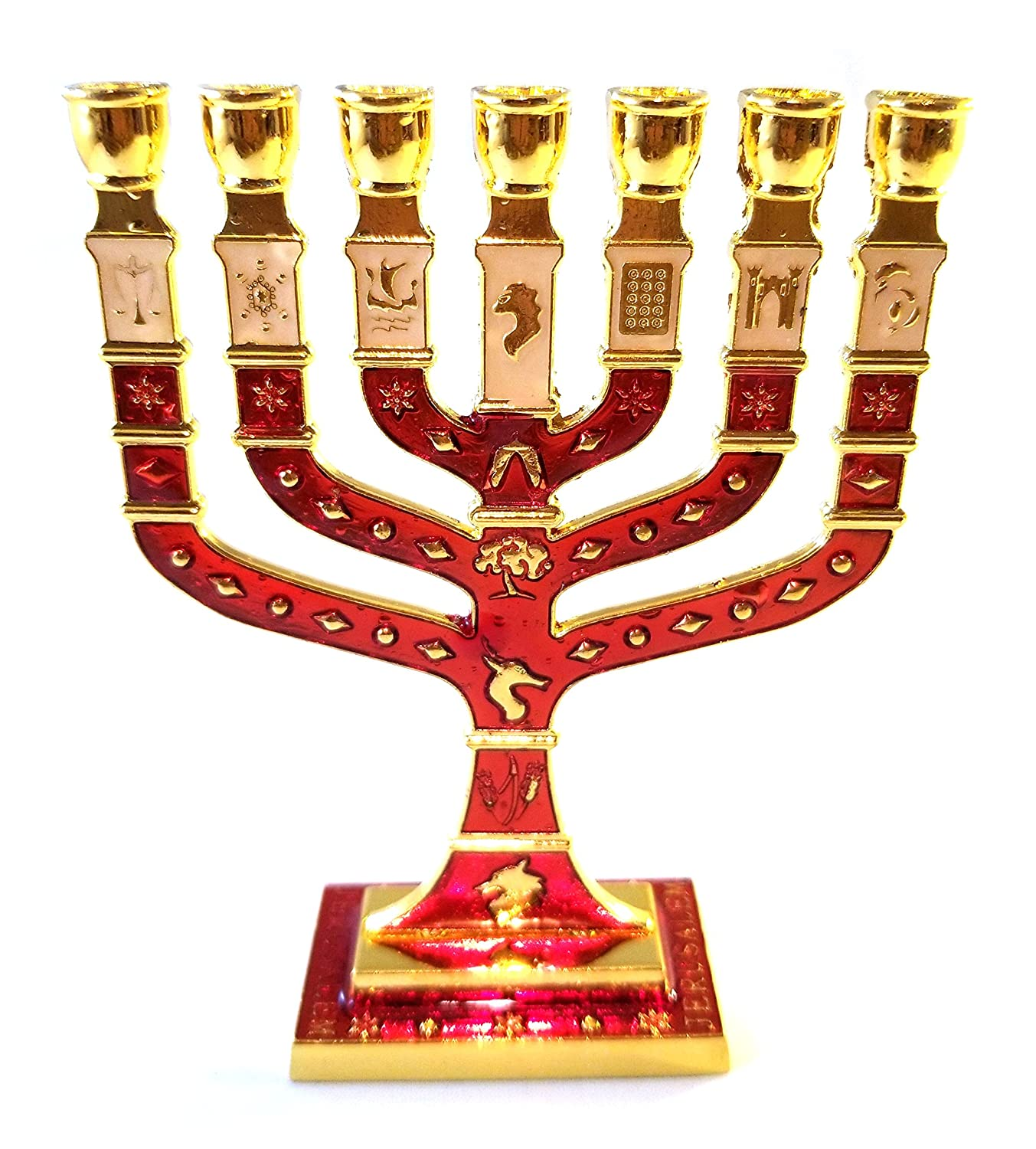 Miniature Crimson Enameled Jewish Menorah 7 Branch Bethlehem Designs