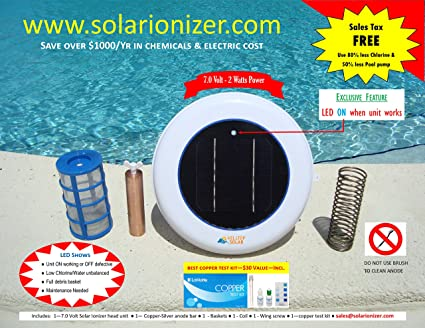 Amazon.com : Solar Pool Ionizer 7.0 Volts with On/Off LED ...