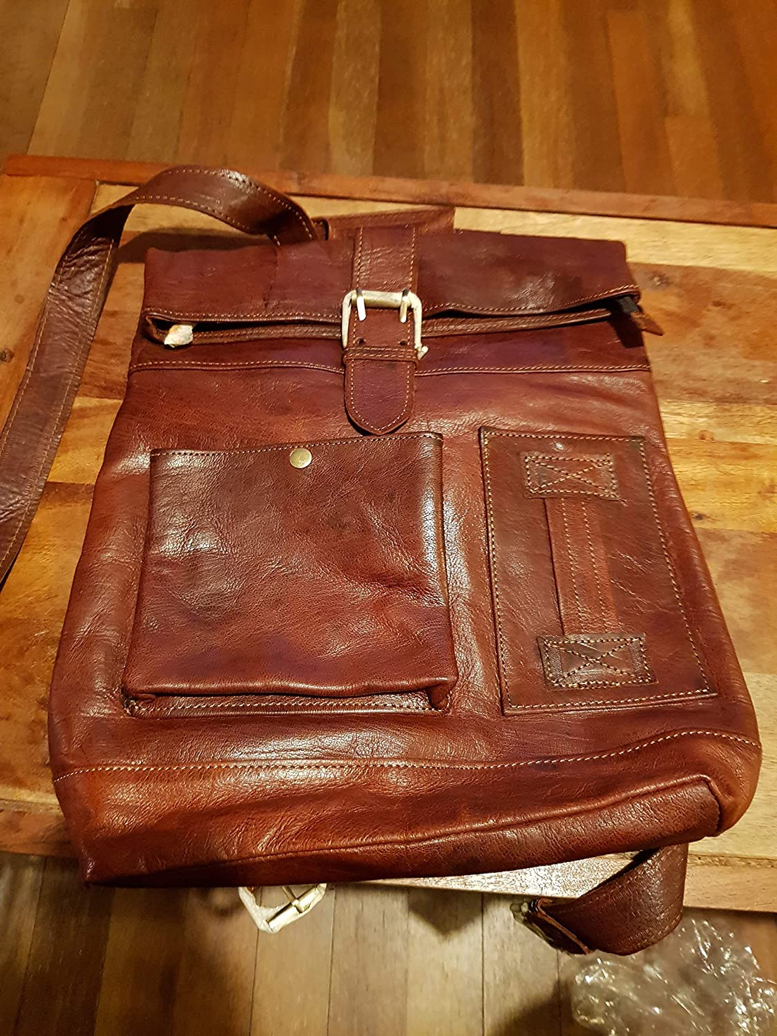 Red brown pocket roll top real leather backpack unisex for men and women