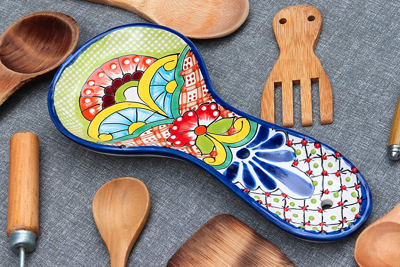 Unique Hand Painted Large Talavera Ceramic Spoon Rest For Mexican Style Kitchen Decor Accesories Colorful Orange Border Flower Design Utensil Holder Trueyogaevergreen Com