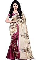 Trendz Women's Cotton Silk Saree With Blouse Piece (Tz_Sunflower_Rani_Cream & Rani Pink)