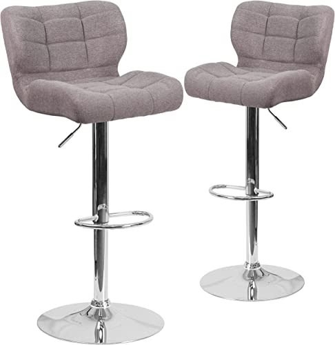 Flash Furniture 2 Pk. Contemporary Tufted Gray Fabric Adjustable Height Barstool with Chrome Base