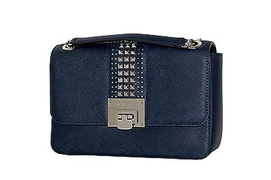 2829c09fb680 MICHAEL Michael Kors Women s TINA Medium Shoulder Flap Leather Evening  Studded Handbag (Navy)