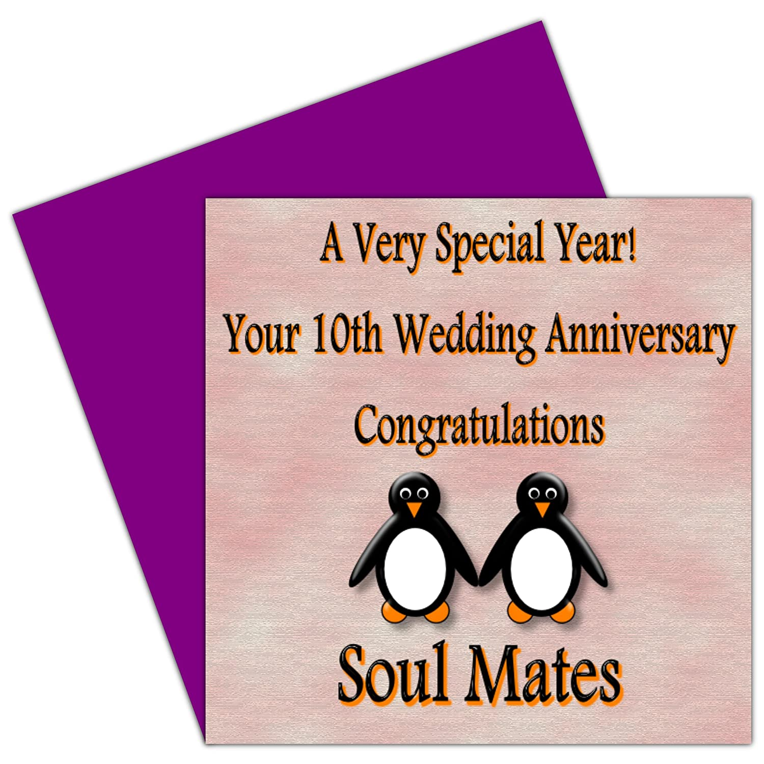 On your 10th wedding anniversary card 10 years tin anniversary on your 10th wedding anniversary card 10 years tin anniversary rosie posie penguin design for family friends amazon office products kristyandbryce Images