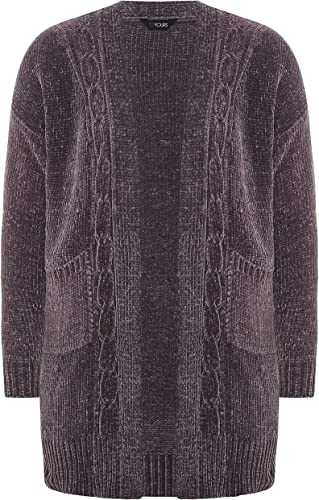 Yours Clothing Womens Plus Size Chenille Knitted Cardigan