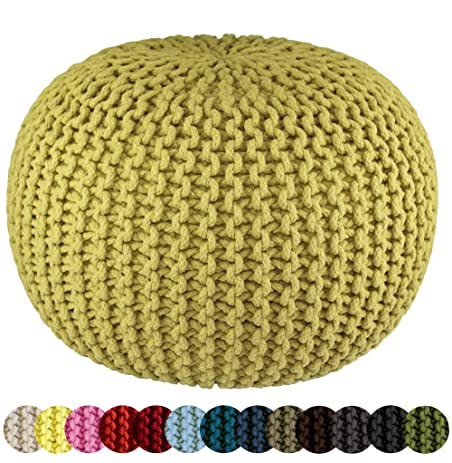 Cotton Craft   Hand Knitted Cable Style Dori Pouf   Green   Floor Ottoman    100