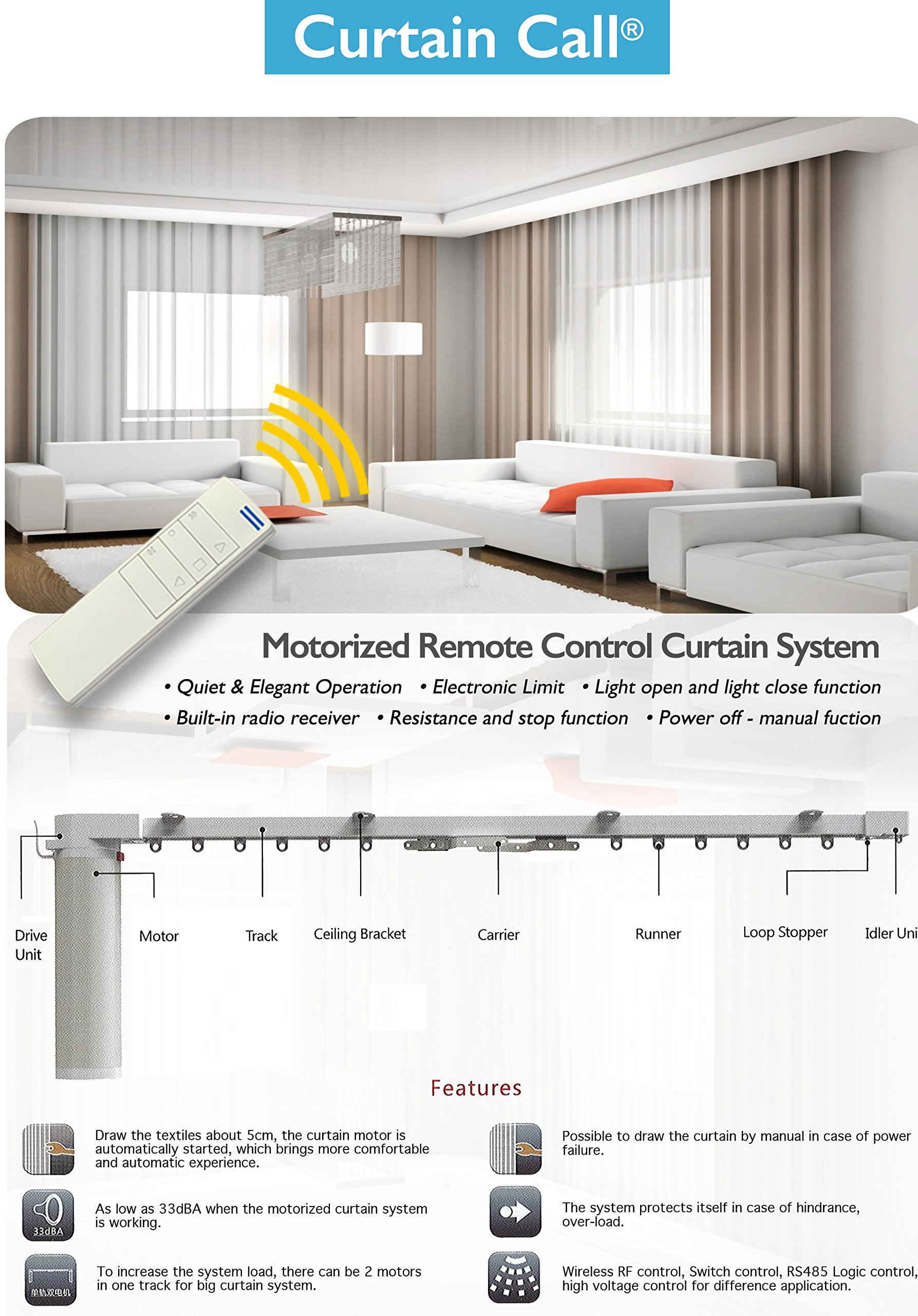 Curtain Call Motorized Drapery Rod with Smart Control Kit (156 Inches Track Center Open Wall Brackets)