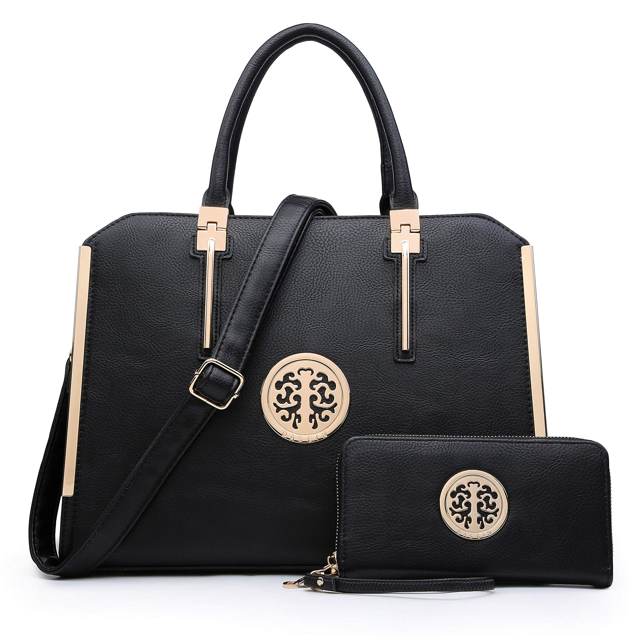 Dasein Women Handbags Purses Vegan Leather Satchel Structured Work Bag Shoulder Totes for 13 Inches Laptop Tablet (Black)
