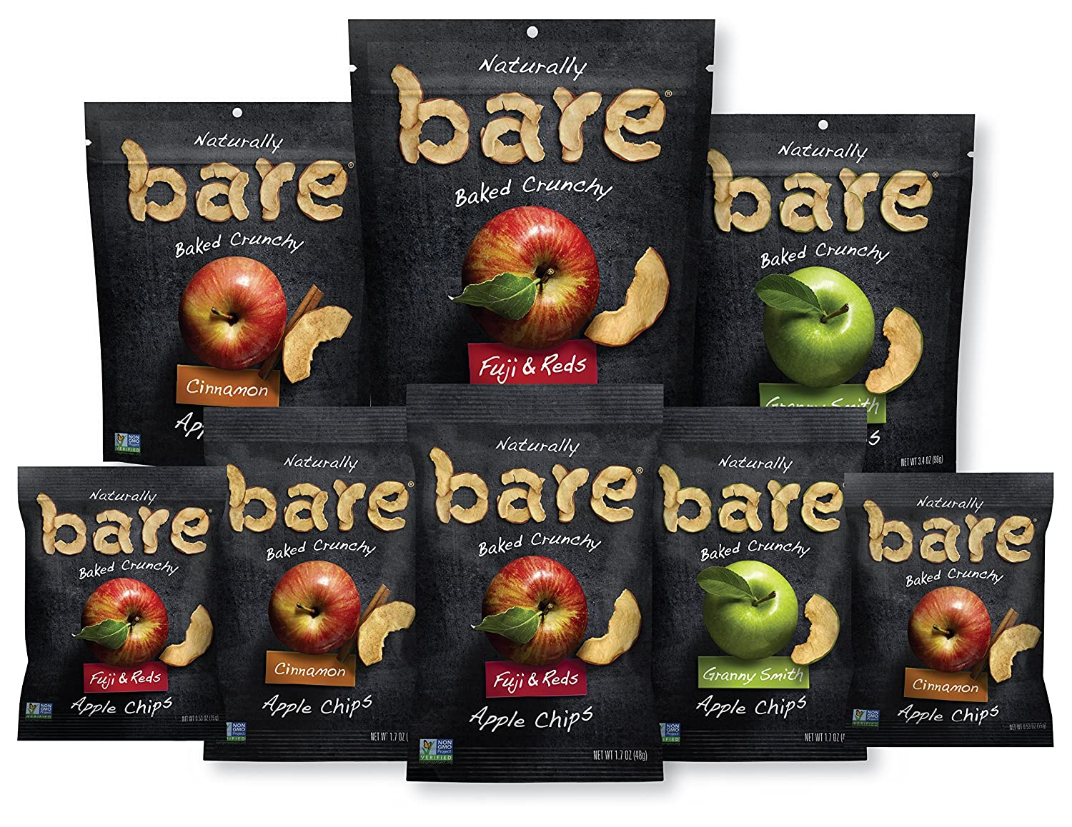 apple food. amazon.com : bare natural apple chips, variety pack, gluten free + baked, 0.53 ounce bags (24 count) dried fruits grocery \u0026 gourmet food
