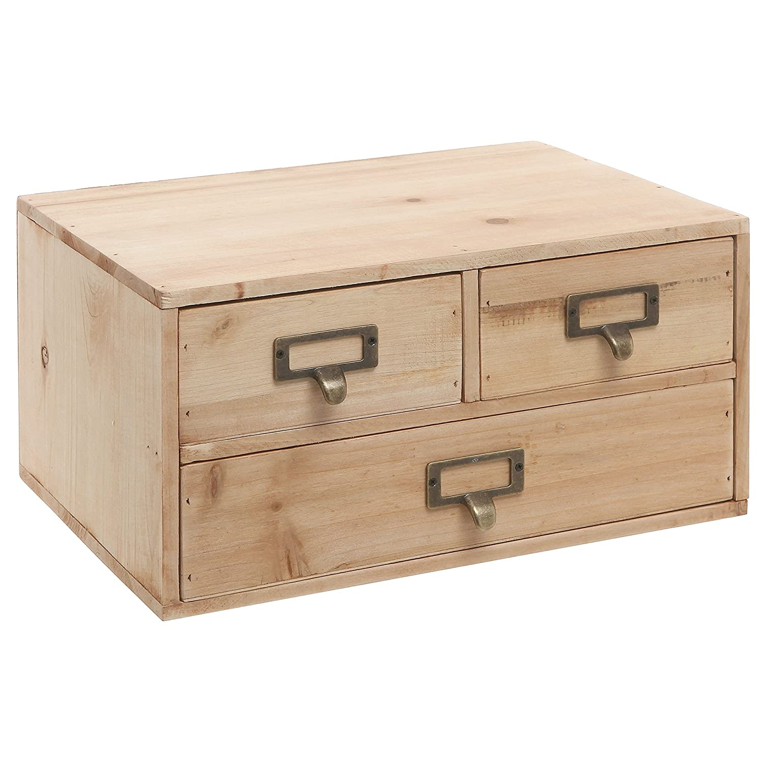 Great Amazon.com: Small Natural Wood Office Storage Cabinet / Jewelry Organizer  With 3 Drawers   MyGift: Kitchen U0026 Dining Part 27