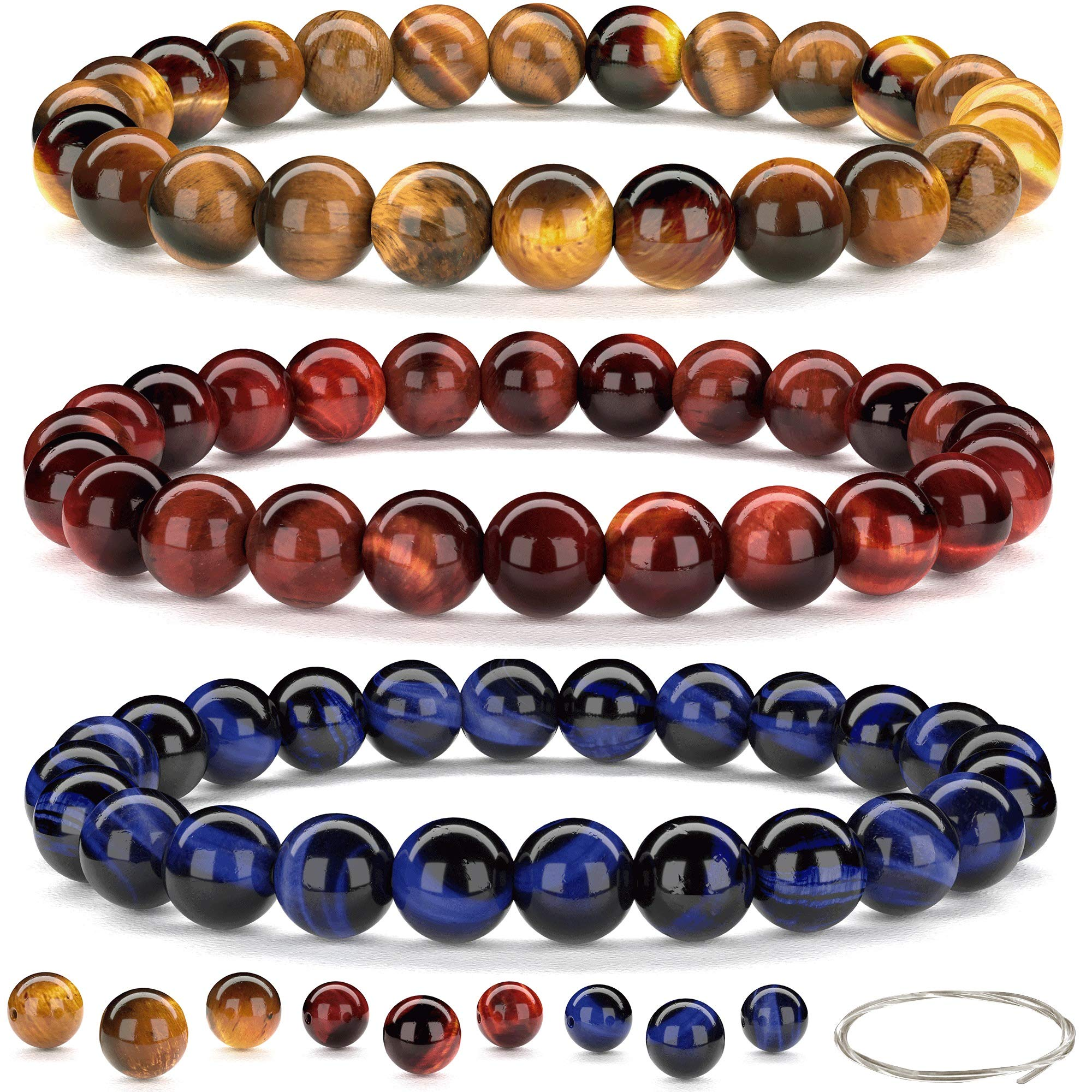 Beaded Gemstone Bracelets for Men and Women: Brown, Blue, and Red Tiger Eye Bracelet Sets with Spare Beads and Crystal Elastic Cord - Mens and Womens Boho Jewelry - 7.25 Inch Bead Bracelet 8mm Beads by Orti Jewelry