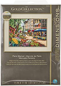 """Dimensions 'Paris Market' Counted Cross Stitch Kit, 18 Count Ivory Aida, 15"""" x 11"""""""